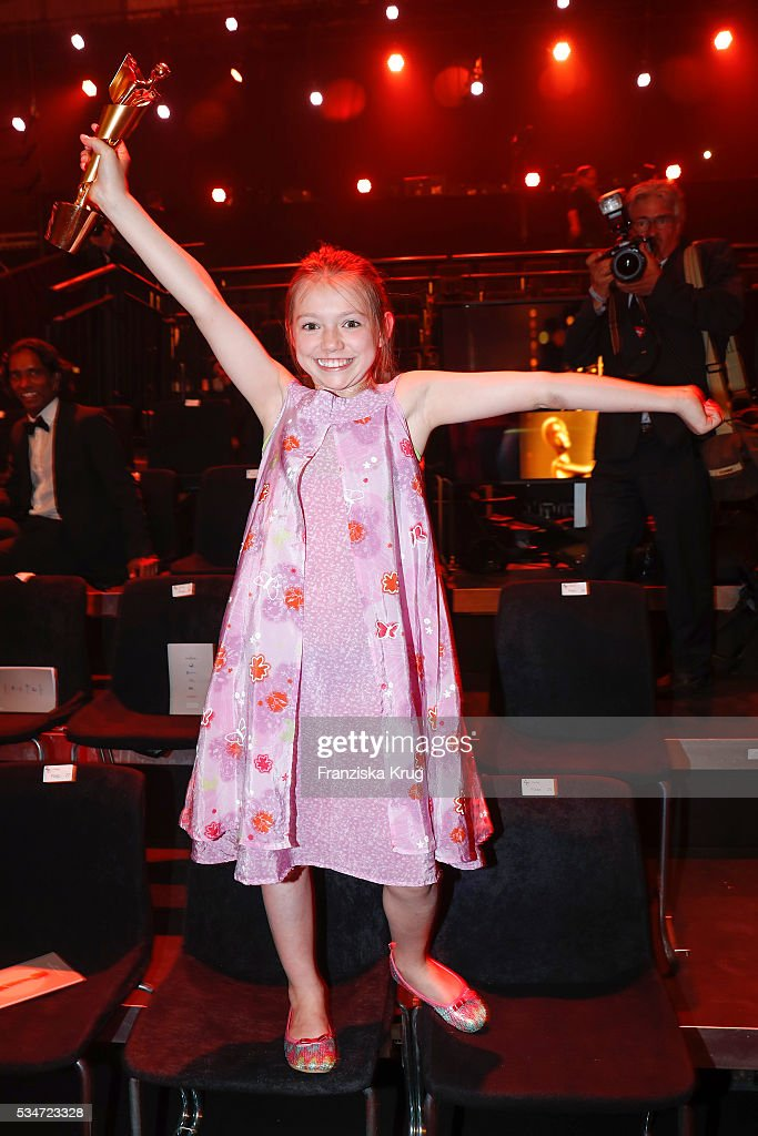 German child actress Anuk Steffen during the Lola - German Film Award (Deutscher Filmpreis) 2016 - Show on May 27, 2016 in Berlin, Germany.