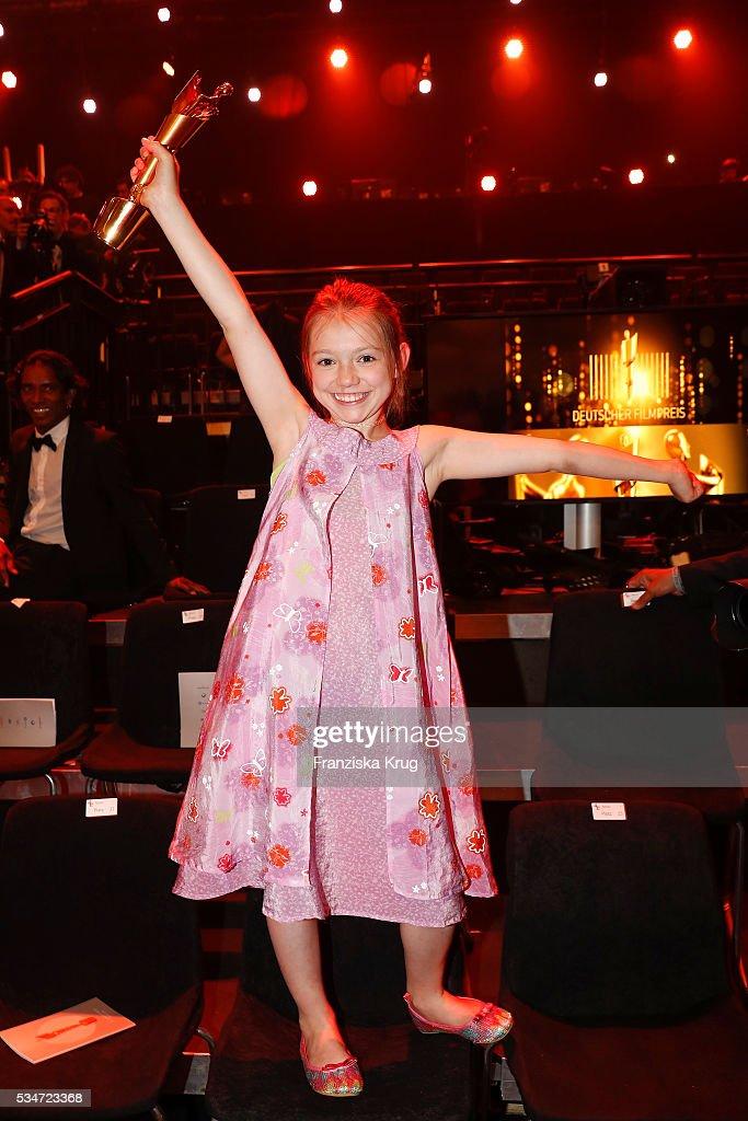 German child actress Anuk Steffen during the Lola - German Film Award (Deutscher Filmpreis) 2016 - Show on May 27, 2016 in Berlin, Germany.