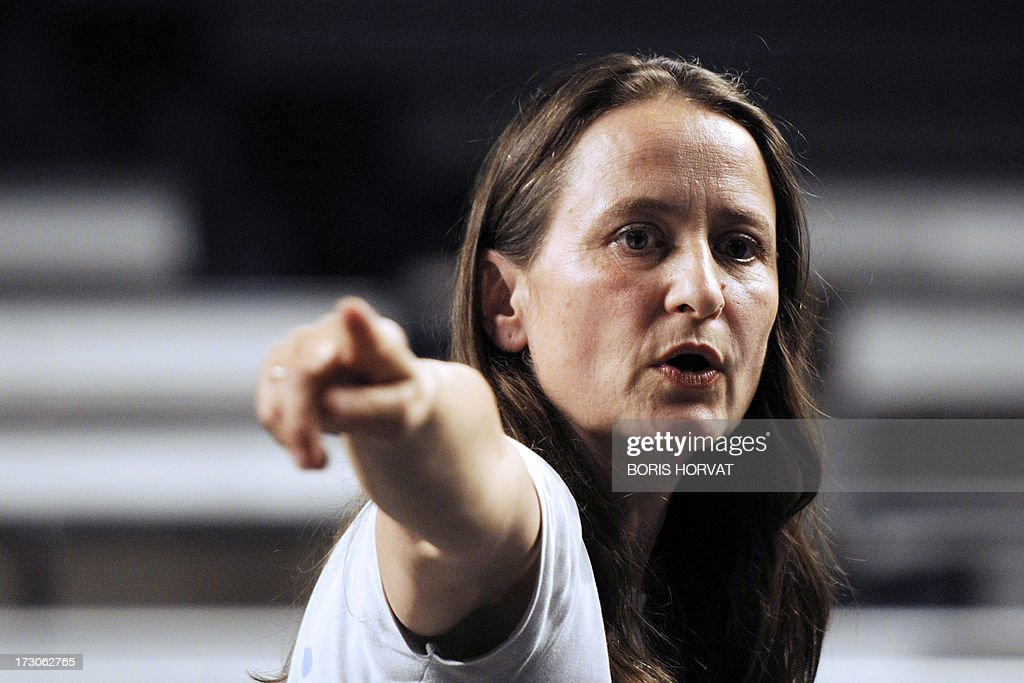 German choreographer Sasha Waltz directs the rehearsal of 'Korper' during the Marseille Dance festival on July 05, 2013 in Marseille, southern France.