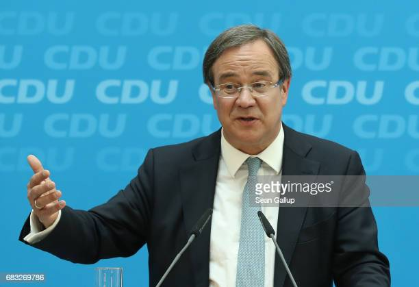 German Christian Democrats lead candidate in yesterday's state election in North RhineWestphalia Armin Laschet speaks to the media on May 15 2017 in...