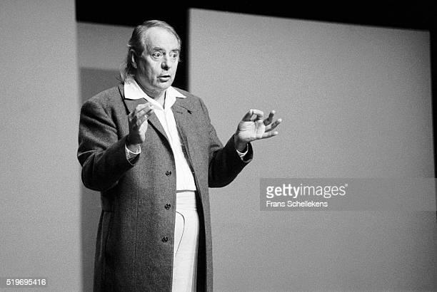 German classical composer Karl Heinz Stockhausen conducts at De Speeldoos on December 2nd 1991 in Zaandam Netherlands