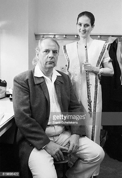 German classical composer Karl Heinz Stockhausen poses with fluteplayer Katinka Pasveer at De Speeldoos on December 2nd 1991 in Zaandam Netherlands