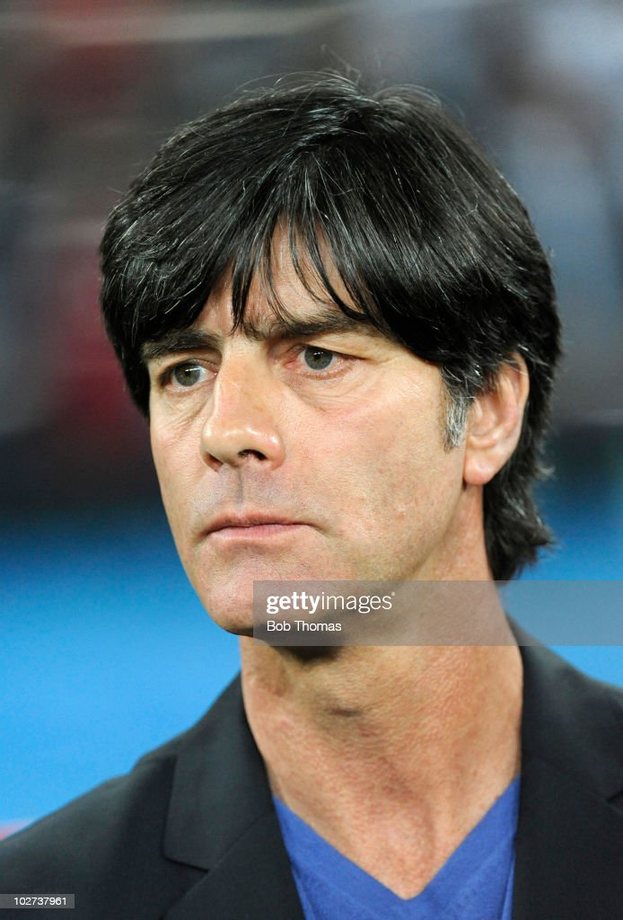 German coach Joachim Loew before the start of the 2010 FIFA World Cup South Africa Semi Final match between Germany and Spain at Durban Stadium on...