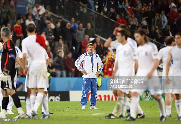 German coach of the Greek national football team Otto Rehhagel looks dejected at the end of the Euro 2008 Championships Group D football match Greece...