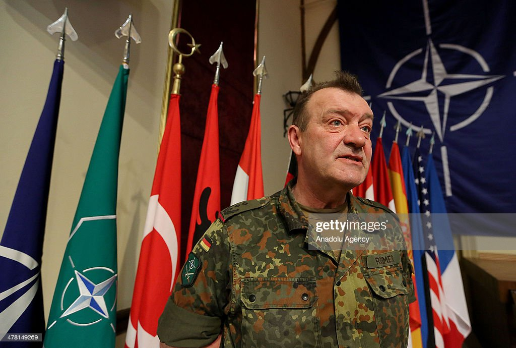 German colonel at the North Atlantic Treaty Organization (NATO) Hans Reimer speaks to the media over the collaboration with Turkey in struggling on March 12, 2014 in the western city Izmir, Turkey.