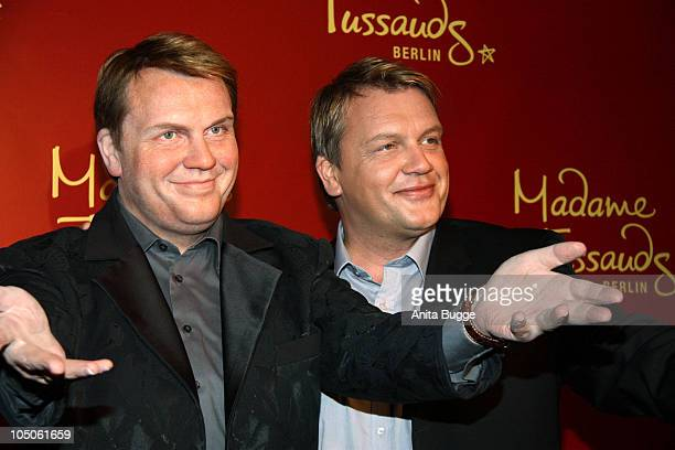 German comedian and actor Hape Kerkeling unveils his wax figure at Madame Tussauds on October 8 2010 in Berlin Germany