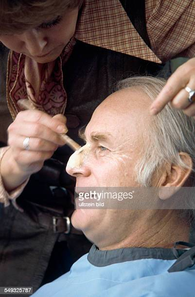 German comedian and cartoonist Vicco von Bülow Loriot getting a bigger nose for his role as old grayhaired Hoppenstedt