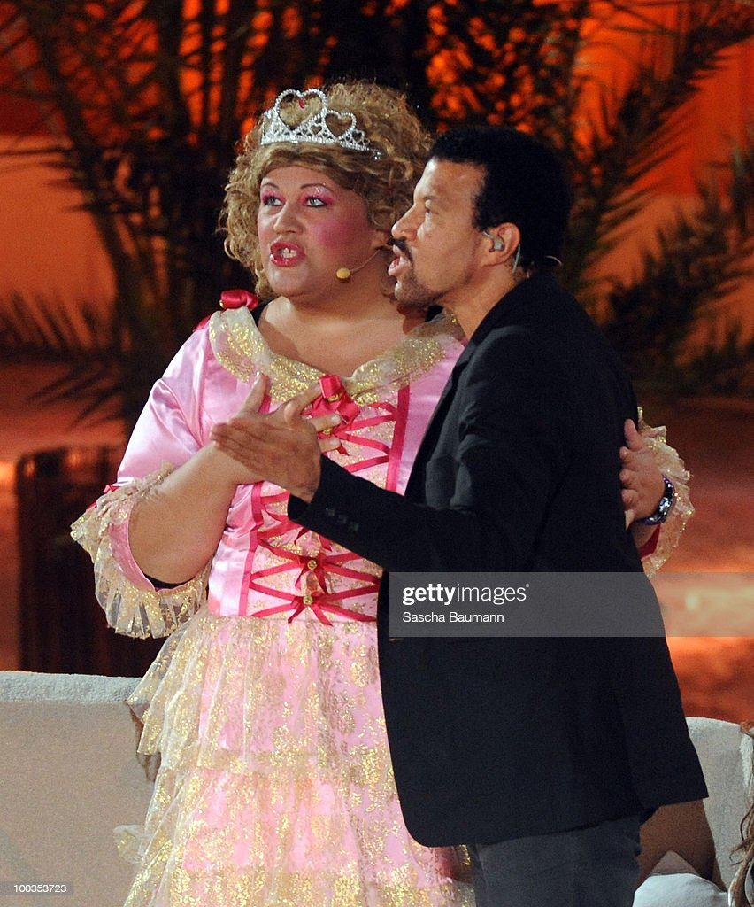 German comedian Cindy aus Marzahn performs with Lionel Richie during the Wetten Dass...? Summer Edition on May 23, 2010 in Palma de Mallorca, Spain.