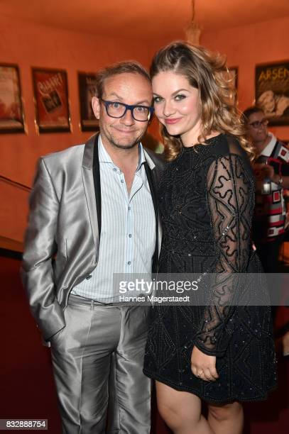 German comedian Wigald Boning and his partner Teresa Tieschky during the 'Aufguss' premiere at Komoedie im Bayerischen Hof on August 16 2017 in...