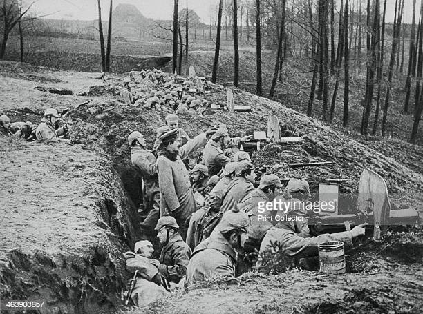 A German company of machineguns during the battle of Darkehmen Russia World War I 1915 Now known as Ozersk and in Russia Darkehmen used to be in East...