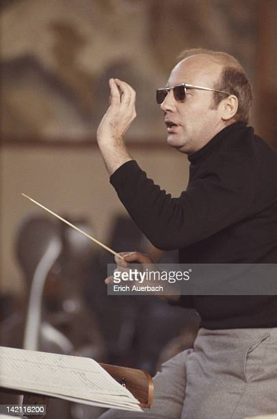 German composer Hans Werner Henze conducts the English Chamber Orchestra at Morley College in London February 1969