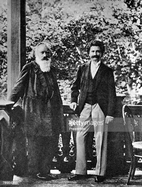 German composer Johannes Brahms photographed with Johann Strauss Jr on the balcony of the Waltz King's villa in the Kaiserbad at Ischl