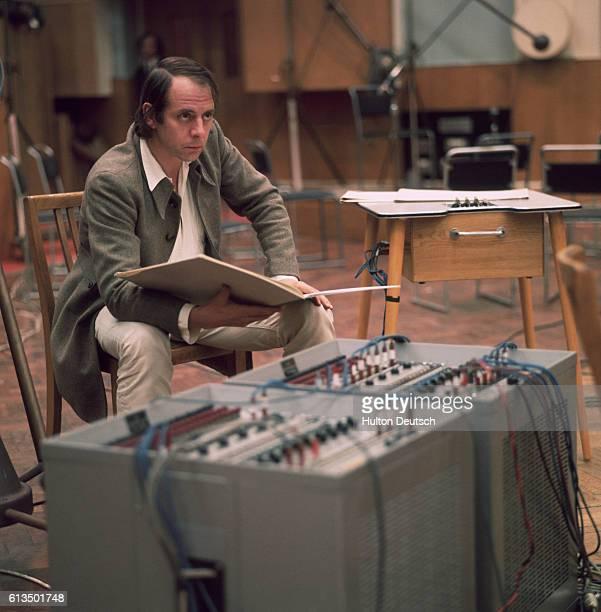 German composer Karlheinz Stockhausen in the recording studio