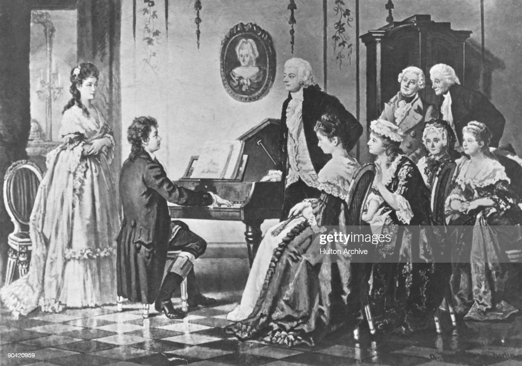 German composer Ludwig Van Beethoven (1770 - 1827) performs a recital for the Razumovsky family, Vienna, Austria, circa 1805. Count Andreas Razumovsky, the Russian ambassador in Vienna, commissioned Beethoven to compose 3 string quartets. Illustration by by Borckmann.