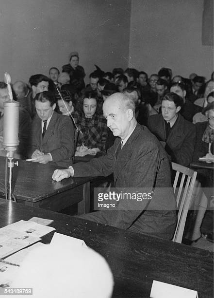 German conductor Wilhelm Furtwängler before the Denazification Board during his examination Behind him are reporters Germany Photograph 1946