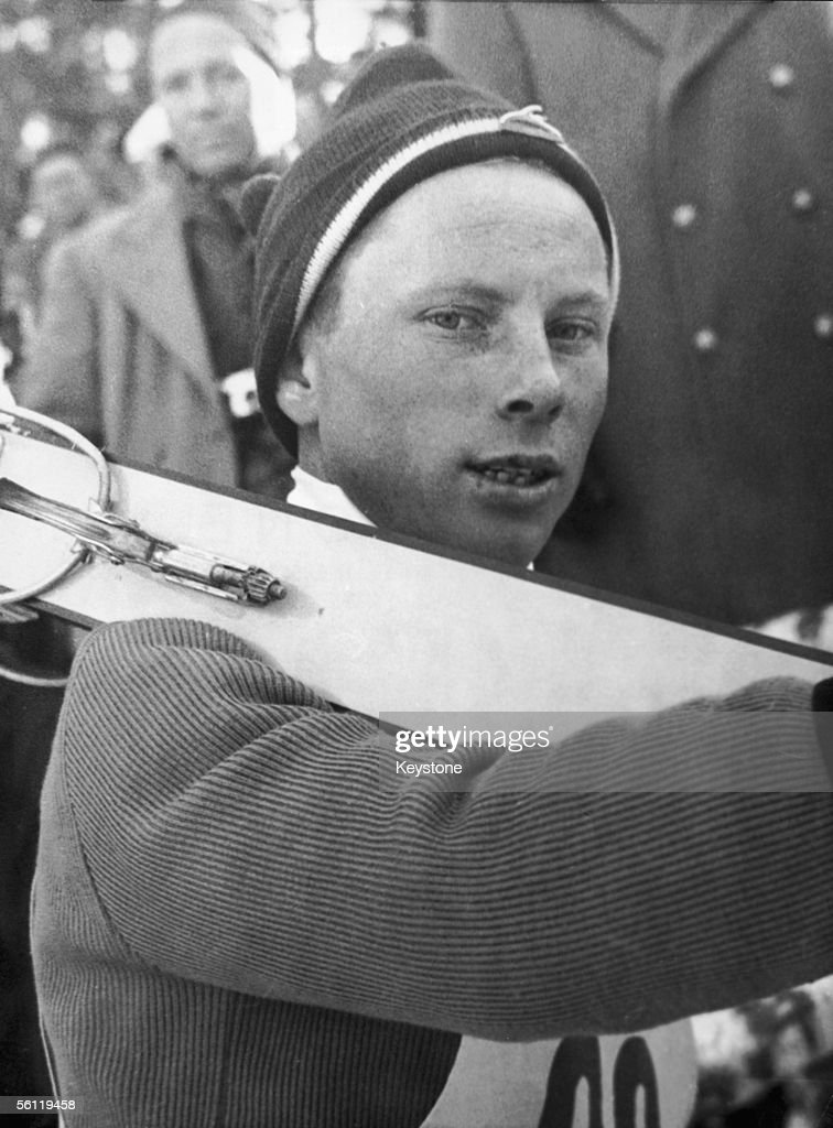 German contestant Max Bolkart makes his way to the start of the Olympic ski jump event at Cortina d'Ampezzo, 6th February 1956. He took fourth position.