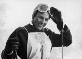 German contestant Ossi Reichert wins the Women's Giant Slalom in the Winter Olympics at Cortina d'Ampezzo 28th January 1956