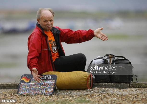 German cyclist Heinz Stucke on the beach in Portsmouth where his bike was stolen within hours of arriving in the UK as he slept in his tent