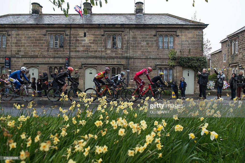 German cyclist Nils Politt (2R) of team Katusha, comptetes in the first stage of the Tour de Yorkshire, as they pass through Ripley, northern England, on April 29, 2016. / AFP / OLI