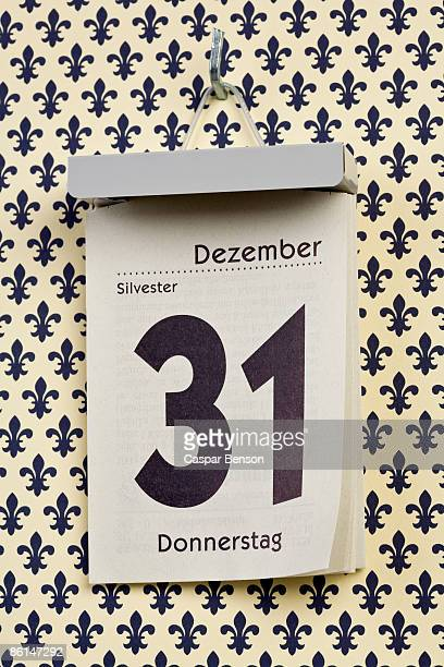 A German daily calendar set on New Year's Eve