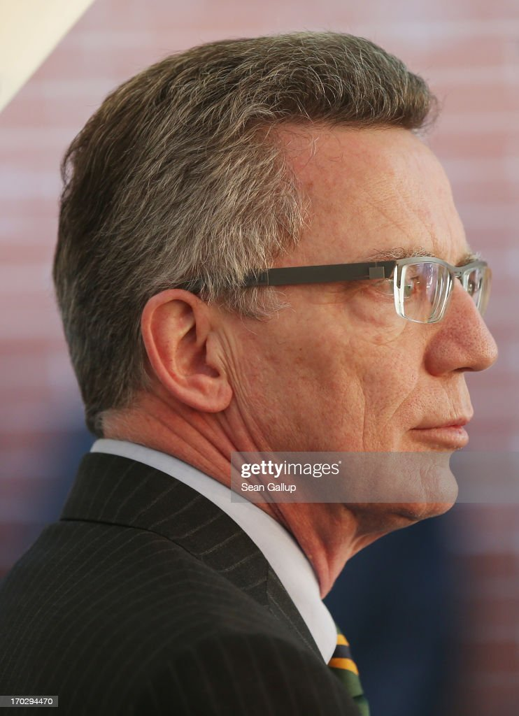 German Defence Minister <a gi-track='captionPersonalityLinkClicked' href=/galleries/search?phrase=Thomas+de+Maiziere&family=editorial&specificpeople=618845 ng-click='$event.stopPropagation()'>Thomas de Maiziere</a> attends the Henry A. Kissinger Prize 2013 award at the American Academy in Berlin on June 10, 2013 in Berlin, Germany.