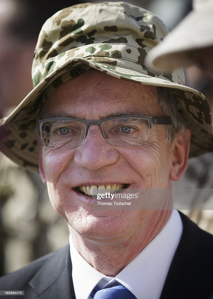 German Defence Minister Thomas de Maiziere is pictured at PRT Kunduz on October 06, 2013 in Kunduz, Afghansitan. Westerwelle and de Maiziere visit Afghanistan to hand over German PRT in Kunduz to the Afghan Military.