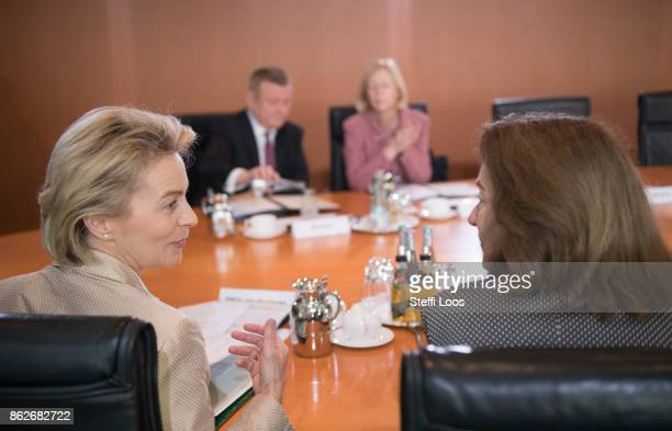 German Defence Minister Ursula von der Leyen and Family Minister Katarina Barley attend the weekly cabinet meeting on October 18 2017 in Berlin...