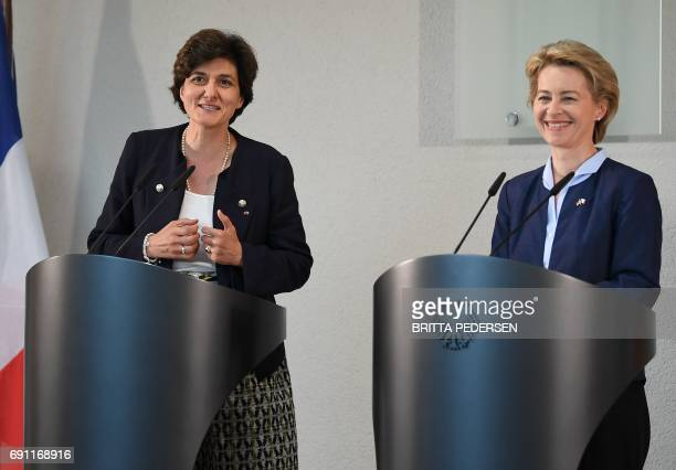 German Defence Minister Ursula von der Leyen and her new French counterpart Sylvie Goulard address a press conference at the Defence Ministry in...