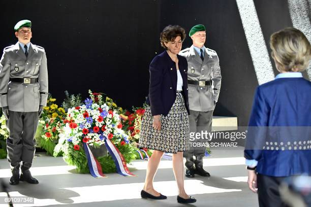 German Defence Minister Ursula von der Leyen and her new French counterpart Sylvie Goulard lay down a wreath at the Bundeswehr memorial dedicated to...