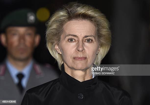 German Defence Minister Ursula von der Leyen arrives for a retirement party for General Lieutenant Peter Schelzig on September 28 2015 in the Bendler...