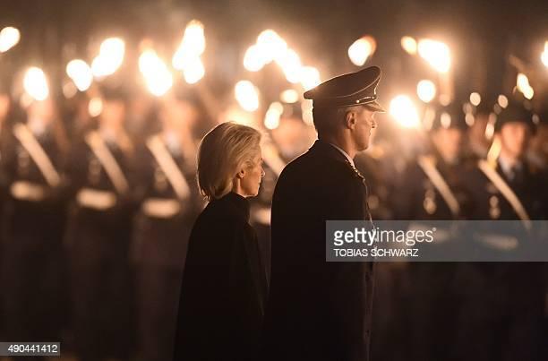 German Defence Minister Ursula von der Leyen attends a retirement party for General Lieutenant Peter Schelzig on September 28 2015 in the Bendler...