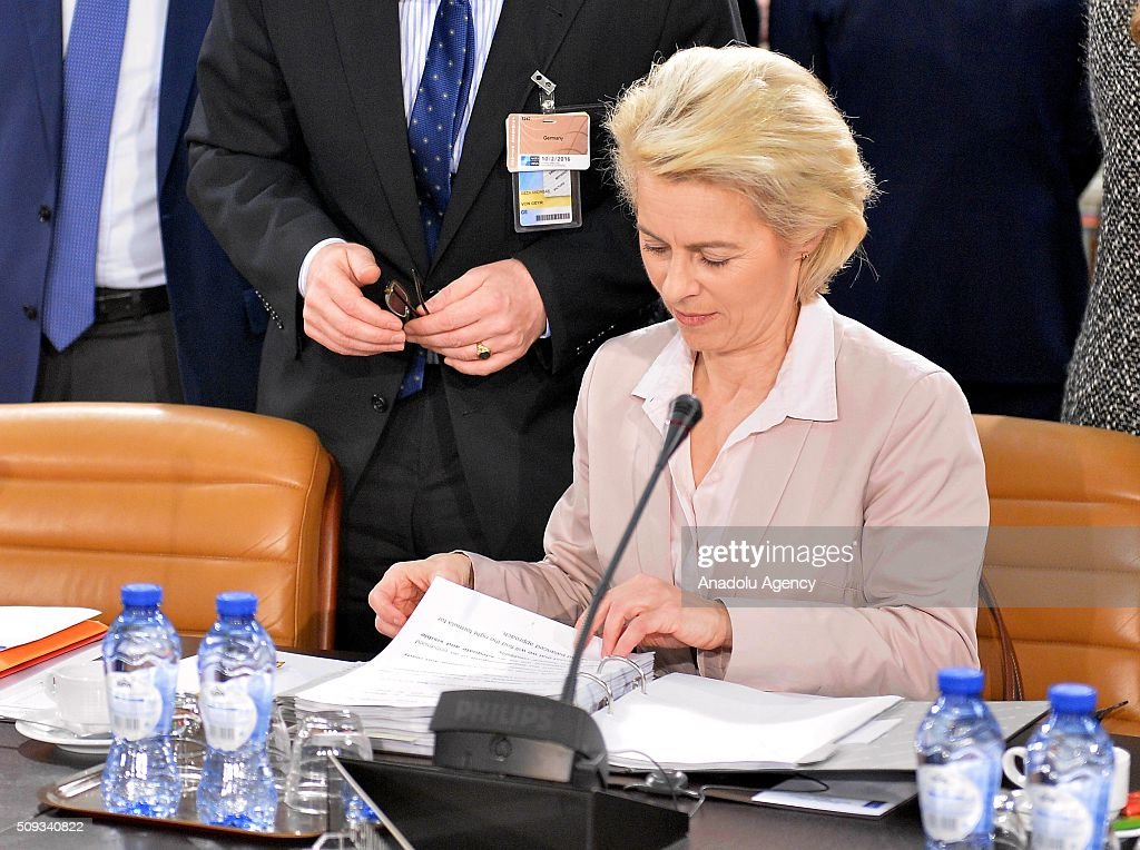 German Defence Minister Ursula Von Der Leyen attends the NATO Defence Ministers meeting at the NATO headquarter in Brussels, Belgium on February 10, 2016.