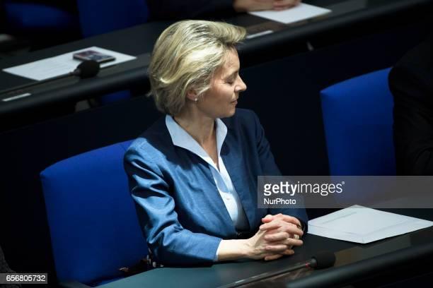 German Defence Minister Ursula von der Leyen attends the swearingin ceremony of new German President FrankWalter Steinmeier during a common session...