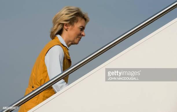 German Defence Minister Ursula von der Leyen boards her plane at Incirlik air base southern Turkey on March 25 2014 Von der Leyen visited German...