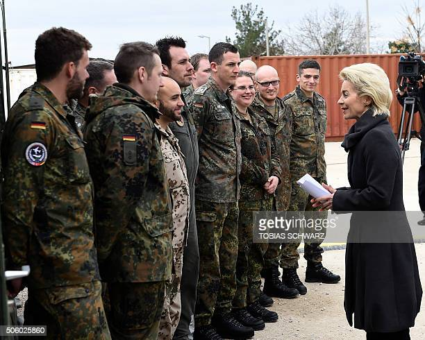 German Defence Minister Ursula von der Leyen chats with soldiers during a visit of the German Armed Forces Bundeswehr at the air base in Incirlik...