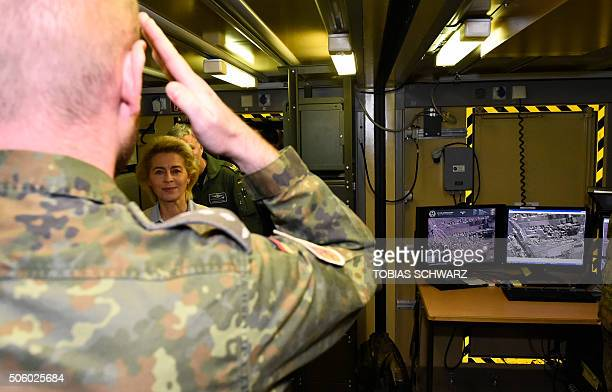 German Defence Minister Ursula von der Leyen enters the socalled 'Ground Exploitation Station' during a visit of the German Armed Forces Bundeswehr...