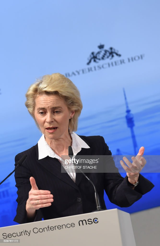 German Defence Minister Ursula von der Leyen gives a speech to open the 52nd Munich Security Conference (MSC) in Munich, southern Germany, on February 12, 2016. The Munich Security Conference takes place here until February 14, 2016. / AFP / Christof Stache
