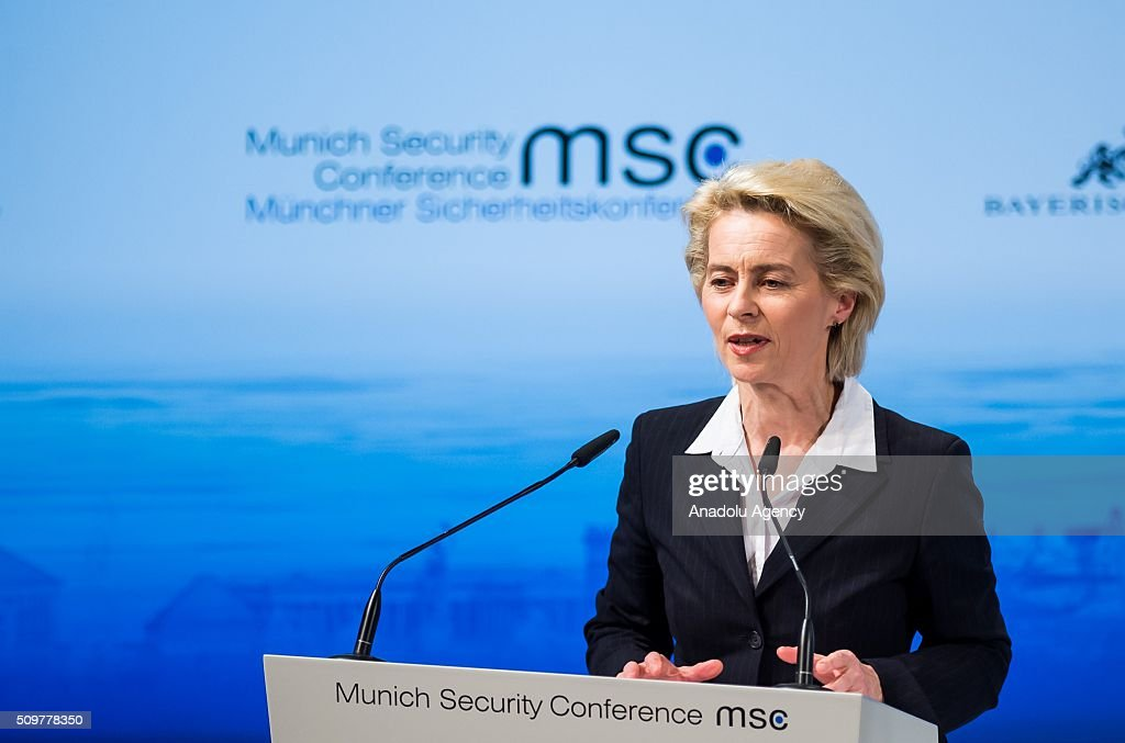 German Defence Minister Ursula Von Der Leyen speaks during the 52nd Security Conference in Munich, Germany on February 12, 2016. The conference on security policy takes place from Feb. 12, 2016 until Feb. 14, 2016.
