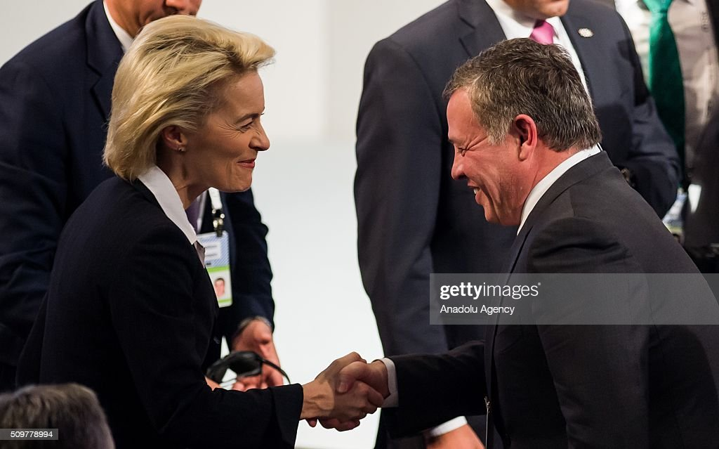German Defence Minister Ursula Von Der Leyen (L) welcomes Jordan's King Abdullah (R) during the 52nd Security Conference in Munich, Germany on February 12, 2016. The conference on security policy takes place from Feb. 12, 2016 until Feb. 14, 2016.