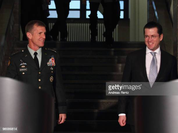 German Defense Minister KarlTheodor zu Guttenberg and General Stanley A McChrystal Commander US Forces Afghanistan attend a press conference at...