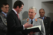 German Defense Minister KarlTheodor zu Guttenberg inaugurates General Volker Wieker as new Chief of Staff of the German military the Bundeswehr at...
