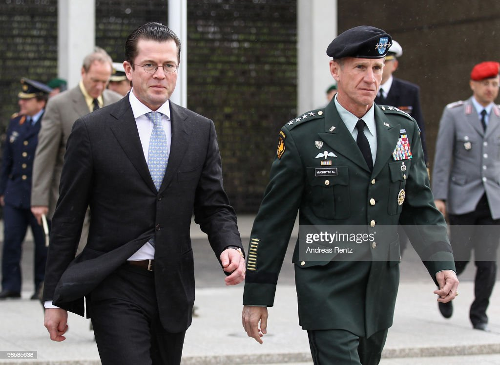 German Defense Minister <a gi-track='captionPersonalityLinkClicked' href=/galleries/search?phrase=Karl-Theodor+zu+Guttenberg&family=editorial&specificpeople=5585450 ng-click='$event.stopPropagation()'>Karl-Theodor zu Guttenberg</a> (L) welcomes General <a gi-track='captionPersonalityLinkClicked' href=/galleries/search?phrase=Stanley+A.+McChrystal&family=editorial&specificpeople=3306071 ng-click='$event.stopPropagation()'>Stanley A. McChrystal</a>, Commander, U.S. Forces Afghanistan at Bendlerblock on April 21, 2010 in Berlin, Germany. Zu Guttenberg met McChrystal for talks about the recent development on the International mission in Aghanistan.