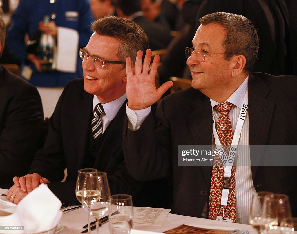 German defense minister <a gi-track='captionPersonalityLinkClicked' href=/galleries/search?phrase=Thomas+de+Maiziere&family=editorial&specificpeople=618845 ng-click='$event.stopPropagation()'>Thomas de Maiziere</a> and Israelian defense minister <a gi-track='captionPersonalityLinkClicked' href=/galleries/search?phrase=Ehud+Barak&family=editorial&specificpeople=202888 ng-click='$event.stopPropagation()'>Ehud Barak</a> attend a gala dinner for the participants of the Munich conference at Munich royal residence on security policy on February 2, 2013 in Munich, Germany. The Munich Security Conference brings together senior figures from around the world to engage in an intensive debate on current and future security challenges and remains the most important independent forum for the exchange of views by international security policy decision-makers.
