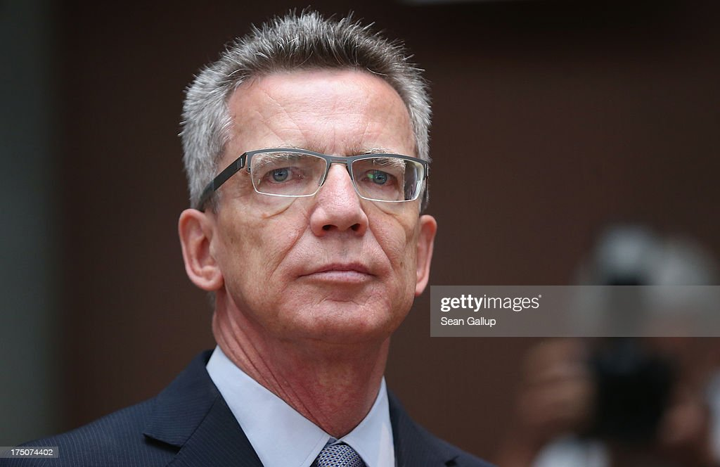 German Defense Minister <a gi-track='captionPersonalityLinkClicked' href=/galleries/search?phrase=Thomas+de+Maiziere&family=editorial&specificpeople=618845 ng-click='$event.stopPropagation()'>Thomas de Maiziere</a> arrives with commission chairwoman Susanne Kastner to testify at the Bundestag commission hearings over the Euro Hawk defense contract on July 31, 2013 in Berlin, Germany. The German government cancelled the military drone project, which has already consumed EUR 562 million (USD 739 million) due to complications with domestic flight certification. The parliament is expected to interview military and government officials as well as senior executives from Northrop Grumman and European Aeronautic Defence and Space Company N.V. (EADS), producers of the drones, on the matter before reporting its results in September. The affair has put pressure on German Defense Minister <a gi-track='captionPersonalityLinkClicked' href=/galleries/search?phrase=Thomas+de+Maiziere&family=editorial&specificpeople=618845 ng-click='$event.stopPropagation()'>Thomas de Maiziere</a> prior to federal elections scheduled for September.