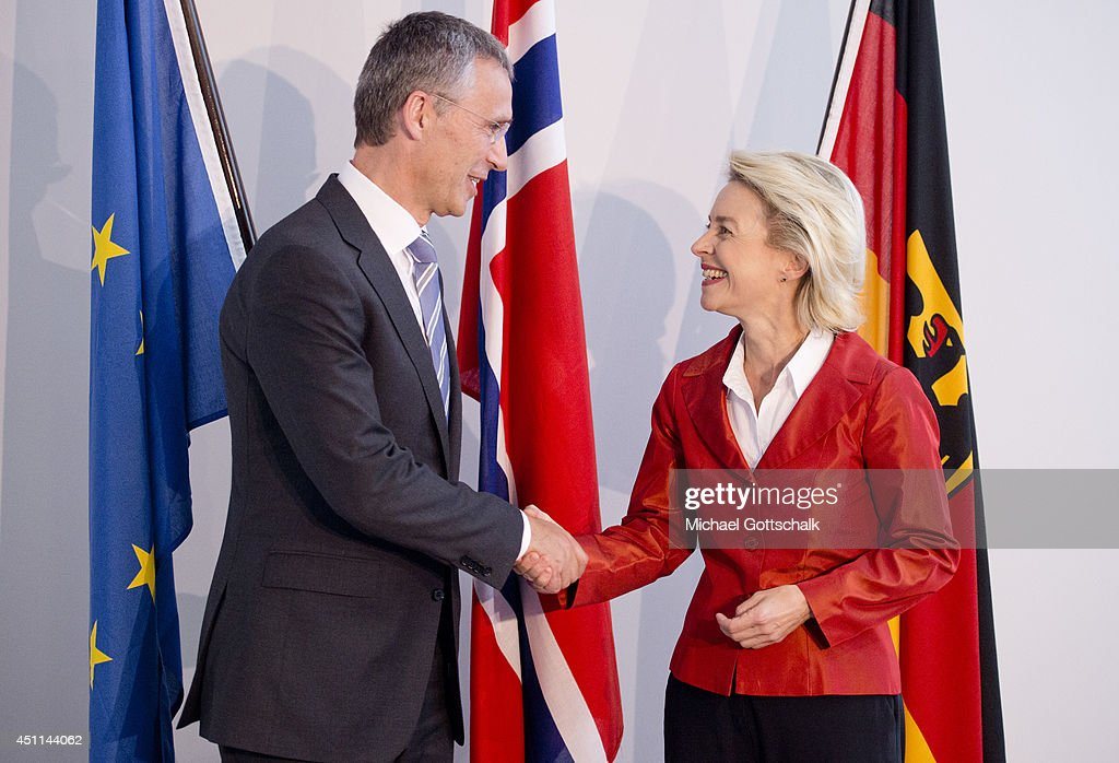 German Defense Minister Ursula von der Leyen (R) and designated NATO Secretary General <a gi-track='captionPersonalityLinkClicked' href=/galleries/search?phrase=Jens+Stoltenberg&family=editorial&specificpeople=558620 ng-click='$event.stopPropagation()'>Jens Stoltenberg</a> meet in the defense ministry on June 24, 2014 in Berlin, Germany.