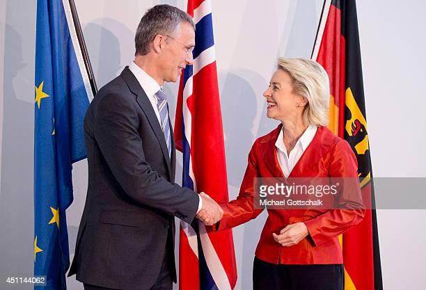 German Defense Minister Ursula von der Leyen and designated NATO Secretary General Jens Stoltenberg meet in the defense ministry on June 24 2014 in...