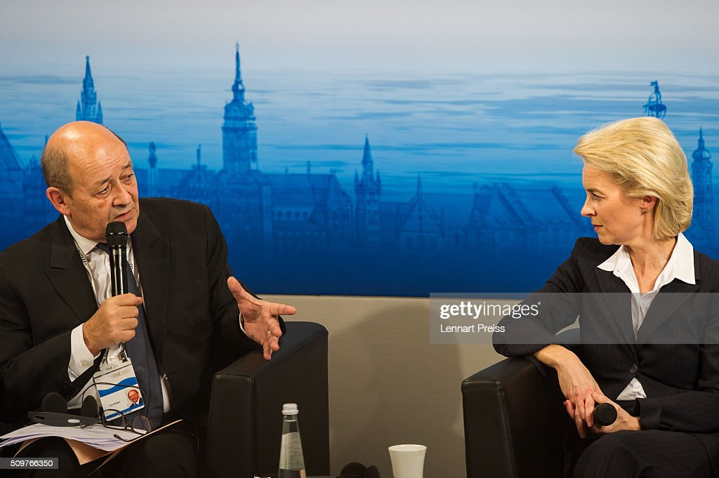 German Defense Minister Ursula von der Leyen and french Minister of Defense, Jean-Yves Le Drian, speak at the 2016 Munich Security Conference at the Bayerischer Hof hotel on February 12, 2016 in Munich, Germany. The annual event brings together government representatives and security experts from across the globe and this year the conflict in Syria will be the main issue under discussion.