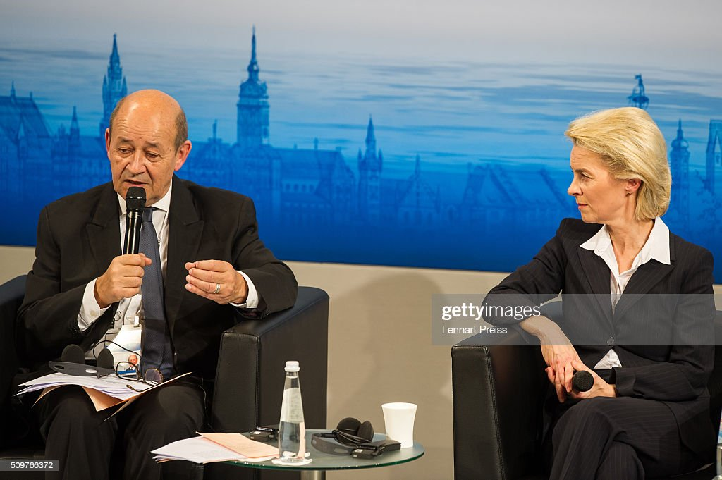 German Defense Minister <a gi-track='captionPersonalityLinkClicked' href=/galleries/search?phrase=Ursula+von+der+Leyen&family=editorial&specificpeople=4249207 ng-click='$event.stopPropagation()'>Ursula von der Leyen</a> and french Minister of Defense, <a gi-track='captionPersonalityLinkClicked' href=/galleries/search?phrase=Jean-Yves+Le+Drian&family=editorial&specificpeople=2122785 ng-click='$event.stopPropagation()'>Jean-Yves Le Drian</a>, speak at the 2016 Munich Security Conference at the Bayerischer Hof hotel on February 12, 2016 in Munich, Germany. The annual event brings together government representatives and security experts from across the globe and this year the conflict in Syria will be the main issue under discussion.