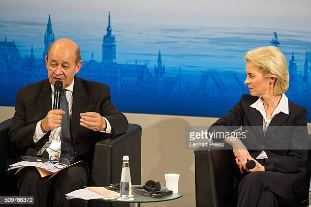 German Defense Minister Ursula von der Leyen and french Minister of Defense JeanYves Le Drian speak at the 2016 Munich Security Conference at the...