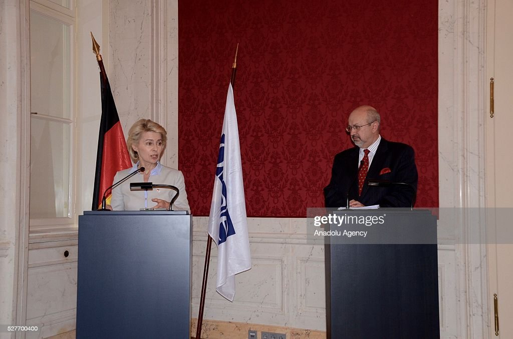 German Defense Minister Ursula von der Leyen (L) and Lamberto Zannier (R), Secretary General of the Organization for Security and Co-operation in Europe (OSCE), hold a joint press conference after their talks in Vienna, Austria on May 03, 2016.